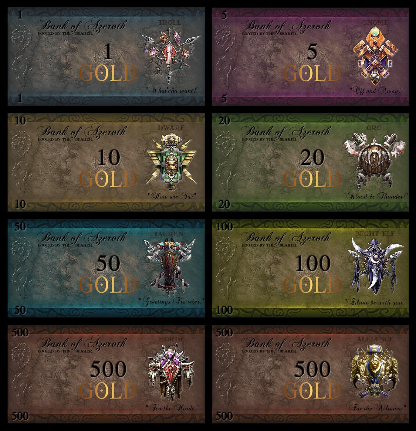World of Warcraft Monopoly Money Set alternative version