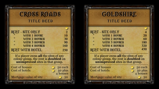 Warcraft Monopoly Property Deeds