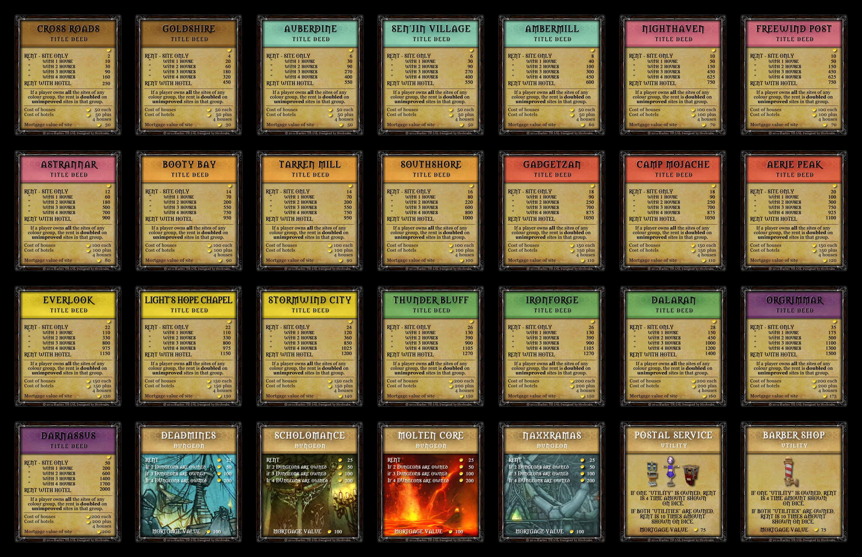 Warcraft Monopoly Property Deeds Set! | Dave Farmer