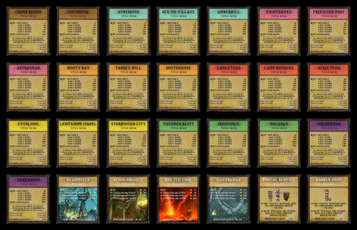 World of Warcraft Monopoly Property Deeds Set