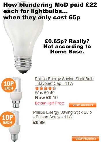MOD pay £22 for lightbulbs - Stupid stupid people.