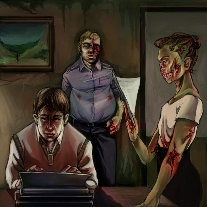 Zombie writer by aelur - http://techgnotic.deviantart.com/art/Zombie-writer-194750415