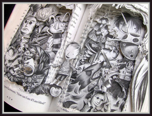 james-and-the-giant-peach-book-sculpture-detail